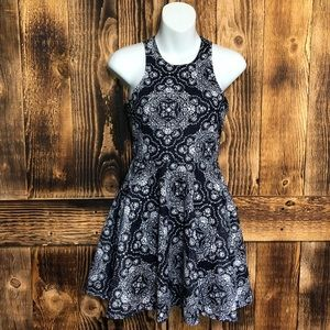 Aeropostale Blue/White Lace Fit + Flare Dress - XS